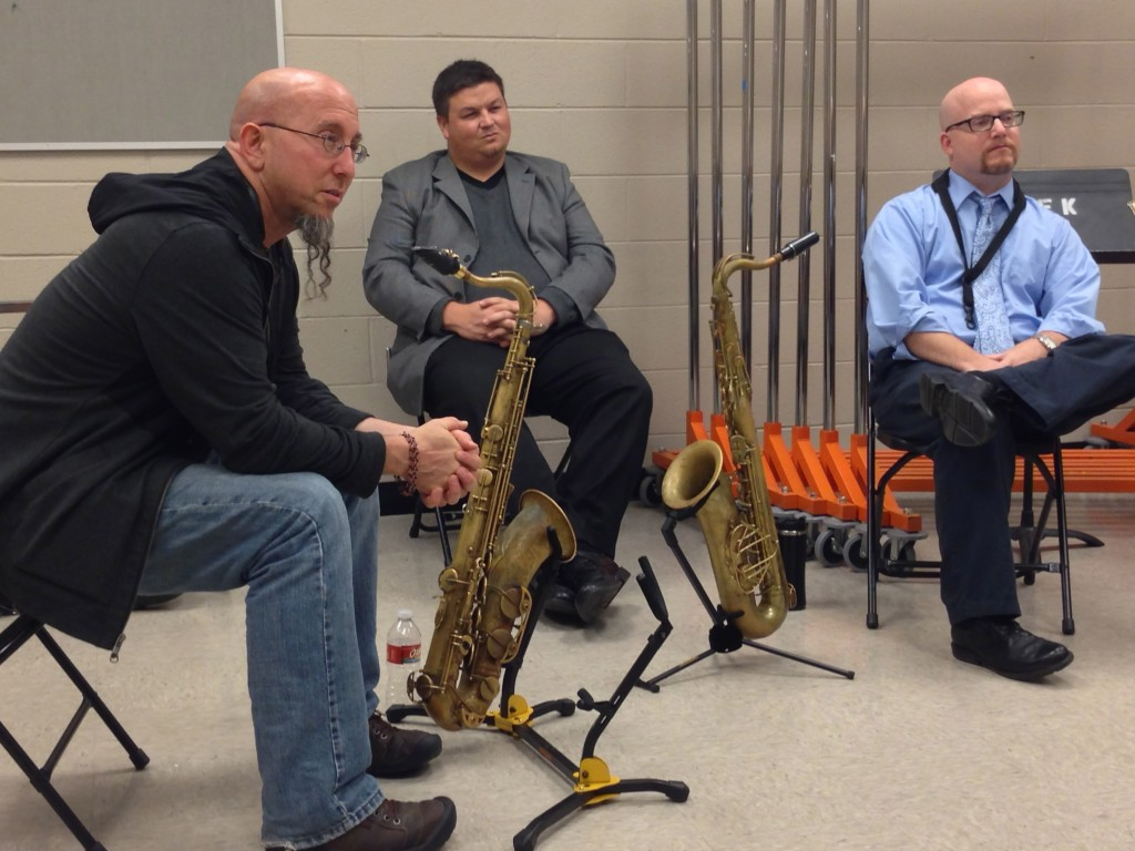 Jeff Coffin, Dr. Adam Estes, Brandon Robinson in a saxophone clinic