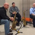 Jeff Coffin, Dr. Adam Estes, Brandon Robinson in a saxophone clinic