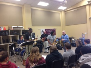 Brandon Robinson, DJ Fitzgerald and DJ Culp performing at the Lane Thompson School of Music, JZ George HS.